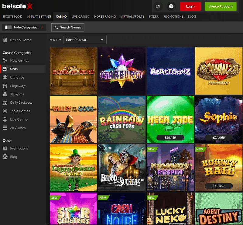 Betsafe Casino Homepage