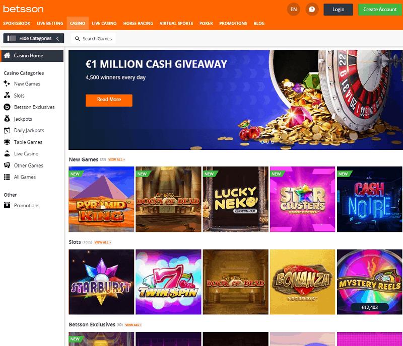 Betsson Casino Website Review