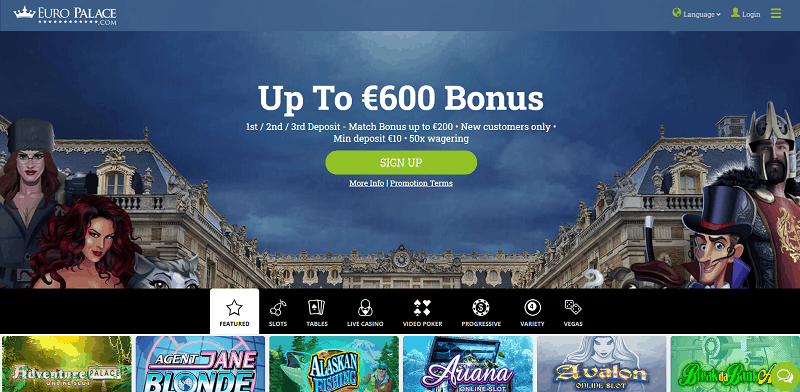 Euro Palace Casino Welcome Bonus and Free Spins
