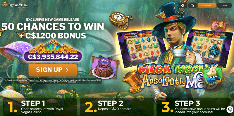50 jackpot free spins on Absolootely Mad Mega Moolah