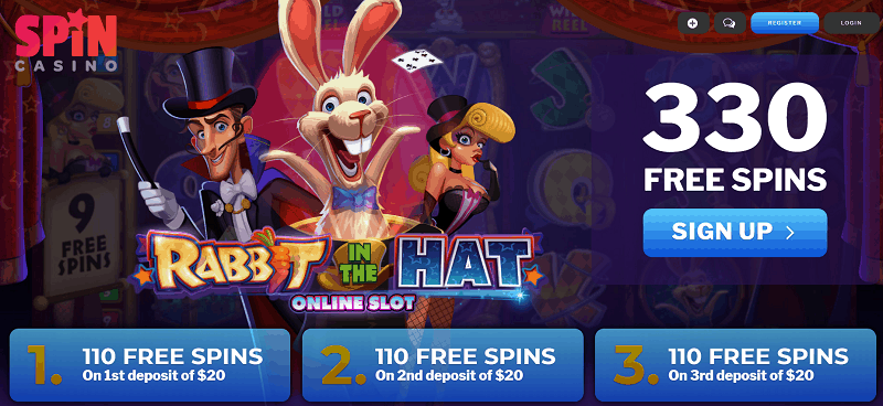 330 Free Spins on Rabbit in The Hat