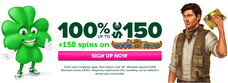 Welcome Offer: 150 free spins and 150 EUR bonus money