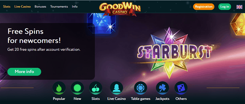 GoodWin Casino 20 free spins on registration