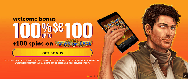 100% bonus and 100 free spins on Book of Dead