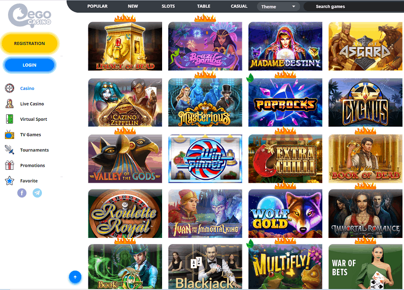 Play at Ego Casino and free spins!