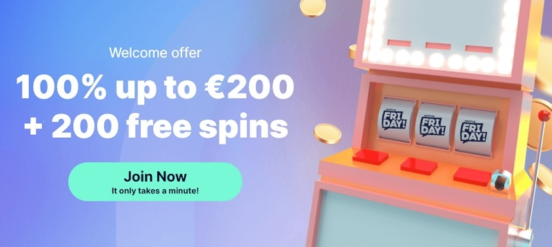 CasinoFriday welcome bonus, free spins, no deposit promotions