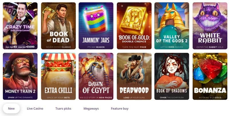 Tsars Casino Games and Live Delaer
