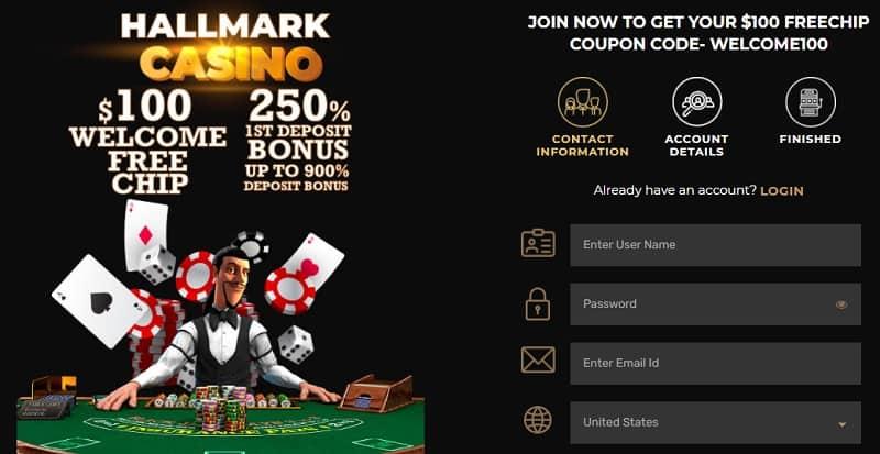 Hallmark Casino $100 Free Chip Bonus