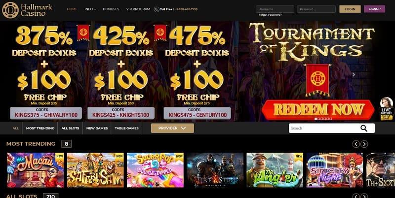 Hallmark Casino Welcome Bonus