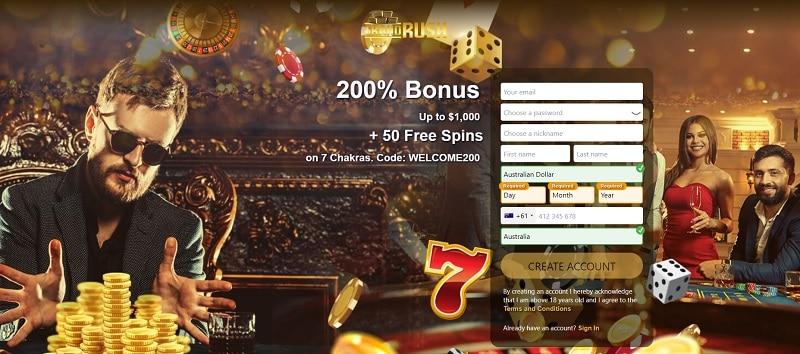Grand Rush Casino 50 free spins bonus code